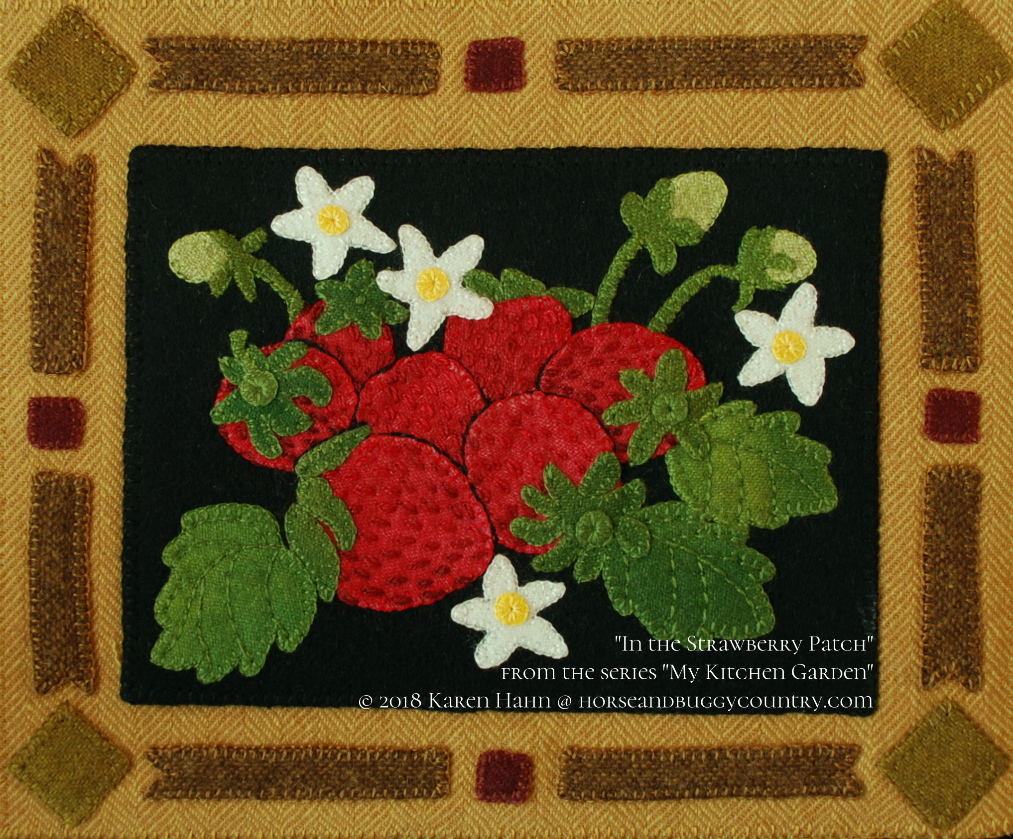 Wool applique pattern kit u201cin the strawberry patchu201d from the series